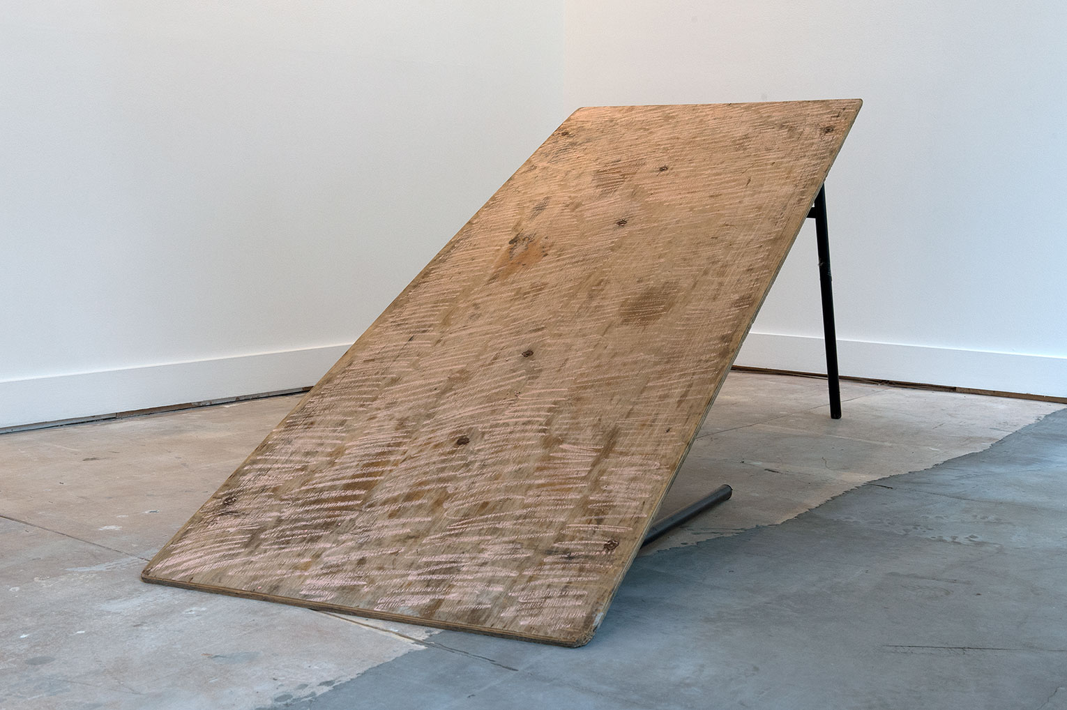 <b>Title: </b>Mean (6ft trestle)<br /><b>Year: </b>2011<br /><b>Medium: </b>Hire function table and chalk<br /><b>Size: </b>Dimensions variable