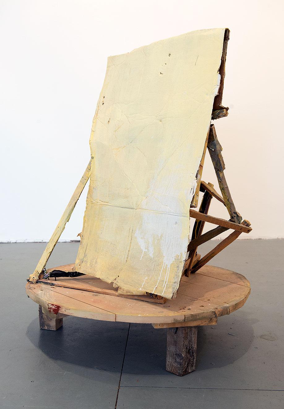 <b>Title:</b>Untitled Table Painting, Yellow<br /><b>Year:</b>2008<br /><b>Medium:</b>Oil, housepaint, cardboard, and wood <br /><b>Size:</b>107 x 80 x 80 cm