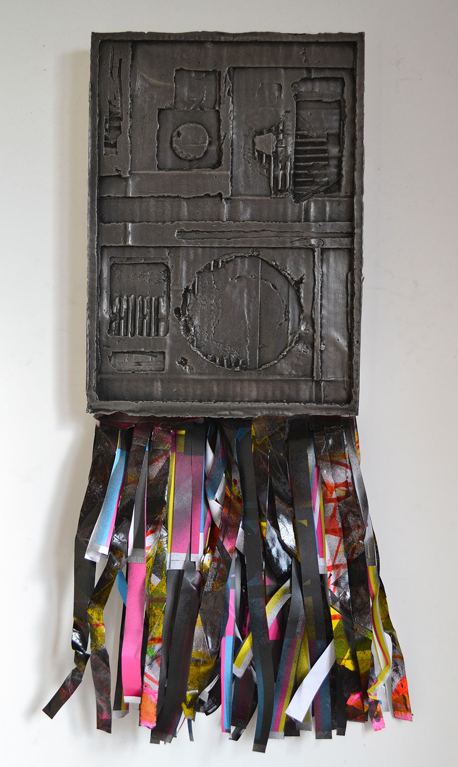 <b>Title:</b>Jodie Foster's Army<br /><b>Year:</b>2013<br /><b>Medium:</b>Plaster of Paris, grate polish, spray paint, paper<br /><b>Size:</b>72 x 31 cm