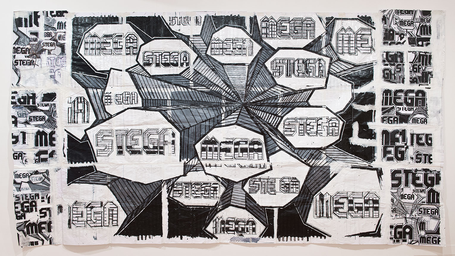 <b>Title: </b>Megastega<br /><b>Year: </b>2013<br /><b>Medium: </b>Drawing on paper<br /><b>Size: </b>260 x 450 cm
