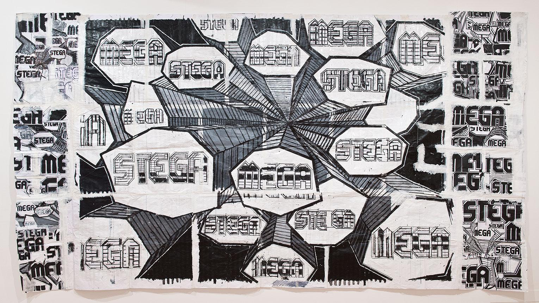 <b>Title:</b>Megastega<br /><b>Year:</b>2013<br /><b>Medium:</b>Drawing on paper<br /><b>Size:</b>260 x 450 cm