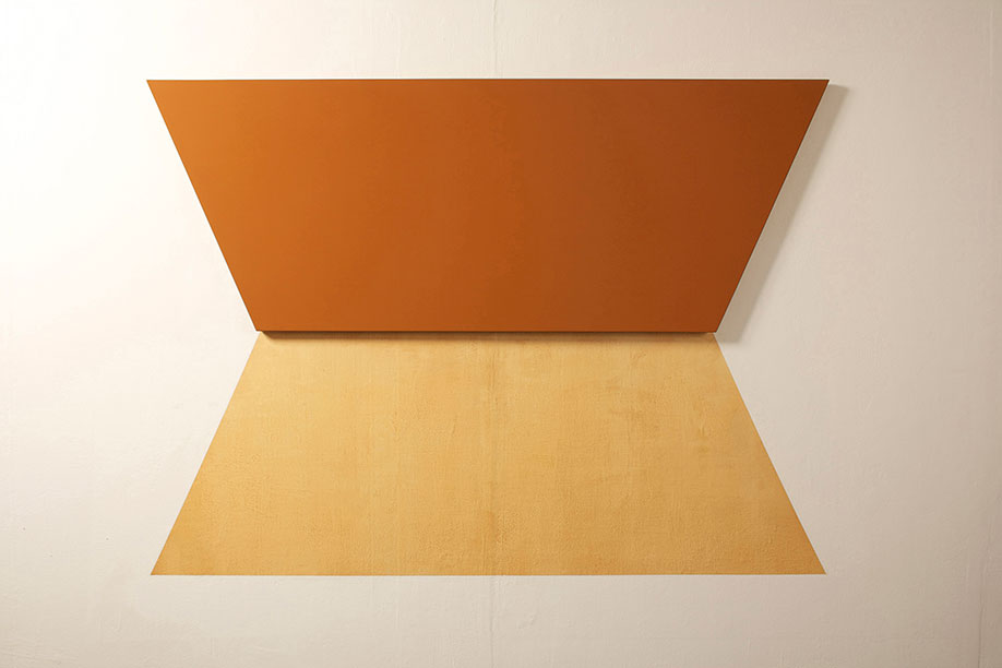 <b>Title: </b>Red Earth No.1<br /><b>Year: </b>2012<br /><b>Medium: </b>Earth pigment in medium on wood panel and wall<br /><b>Size: </b>165 x 155 cm