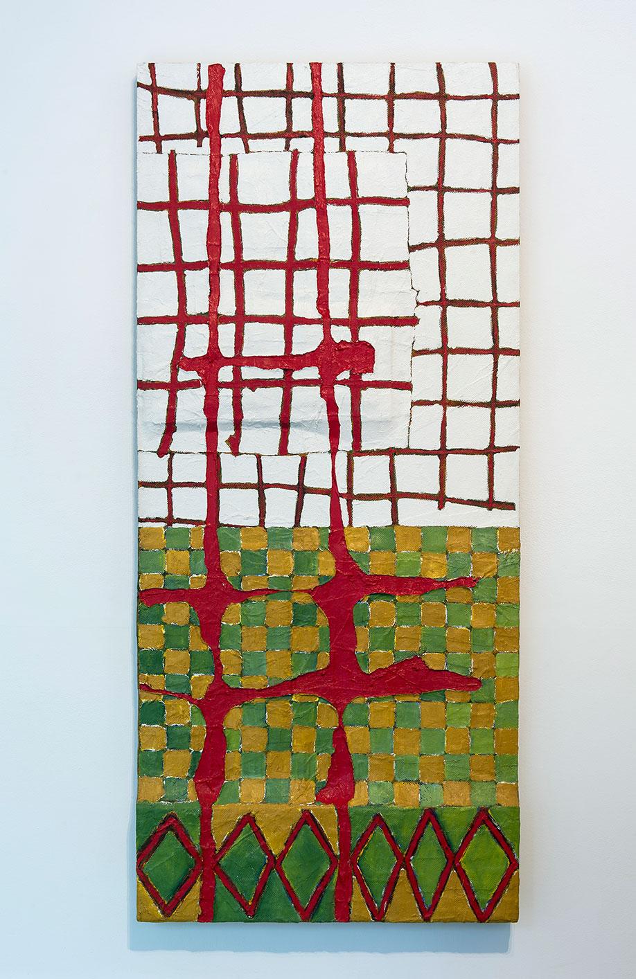 <b>Title:</b>Aughnacloy<br /><b>Year:</b>1989<br /><b>Medium:</b>Oil and mixed media on canvas on board<br /><b>Size:</b>174.5 x 76.5 x 7.5 cm
