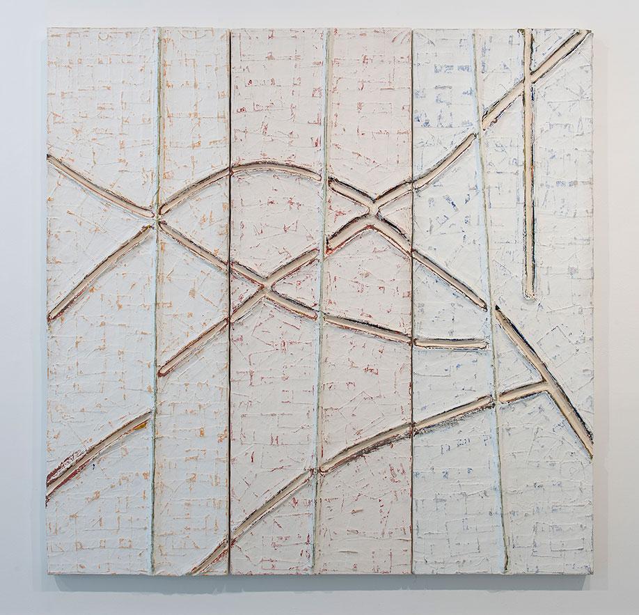 <b>Title:</b>Cinturat<br /><b>Year:</b>1991<br /><b>Medium:</b>Acrylic, masonite, and rope<br /><b>Size:</b>184 x 184 x 6 cm