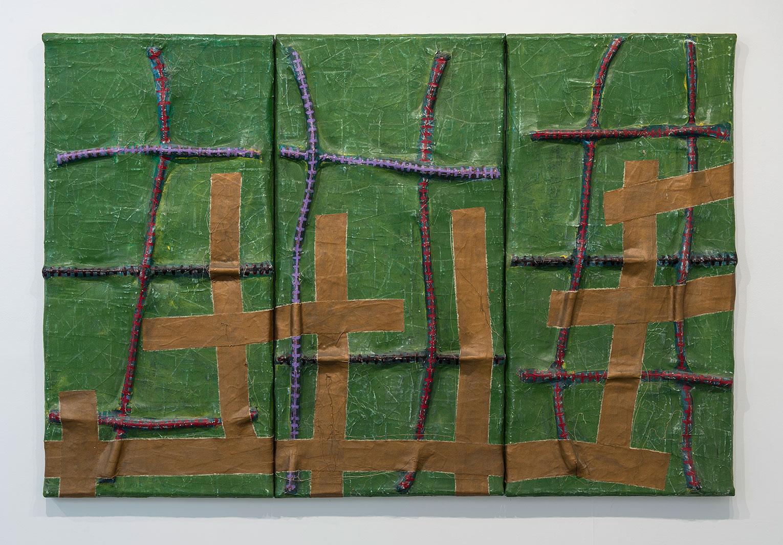 <b>Title:</b>Lacroix<br /><b>Year:</b>1992<br /><b>Medium:</b>Acrylic with cotton rope on stretched canvas<br /><b>Size:</b>152 x 230 x 9 cm