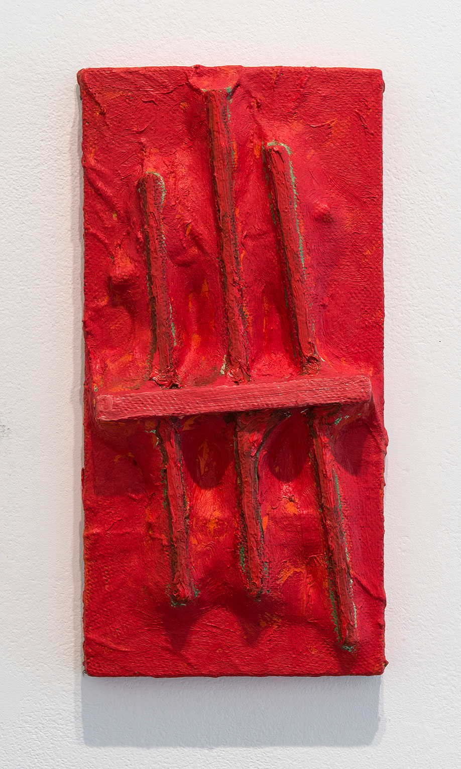 <b>Title:</b>Point<br /><b>Year:</b>1992<br /><b>Medium:</b>Oil and cardboard tubing on canvas and board<br /><b>Size:</b>38 x 19 x 5.5 cm