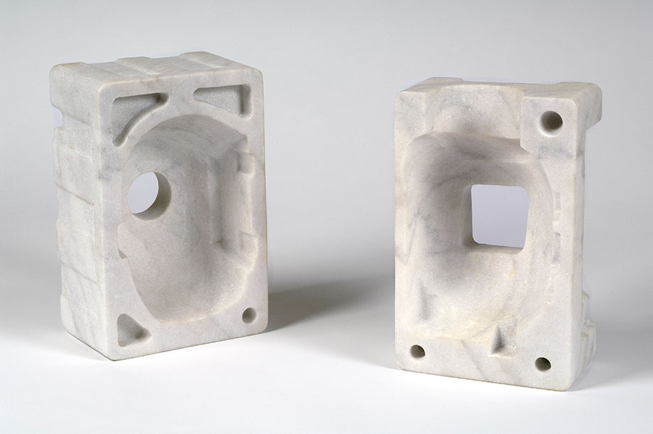 <b>Title: </b>Something Is Missing<br /><b>Year: </b>2006<br /><b>Medium: </b>White cararra hand-carved marble<br /><b>Size: </b>29.2 x 19.1 x 12.7 cm