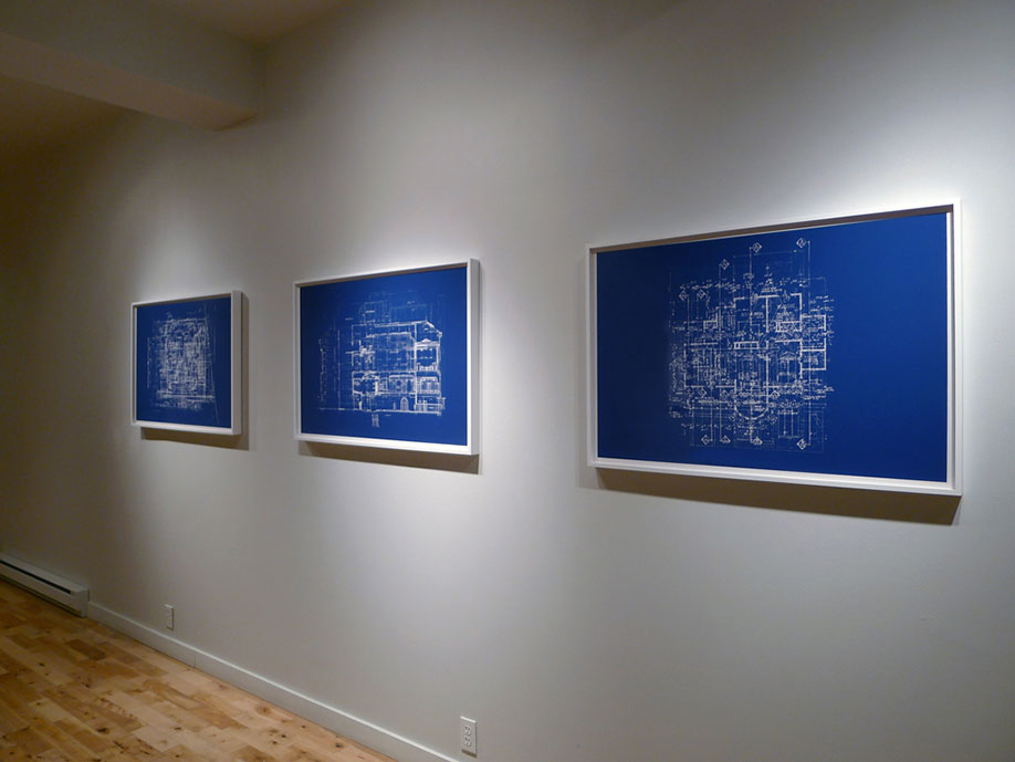<b>Title: </b>Untitled (Blueprint for an Unbuilt House)<br /><b>Year: </b>2012<br /><b>Medium: </b>Cyanotype blueprints<br /><b>Size: </b>70 x 100 cm
