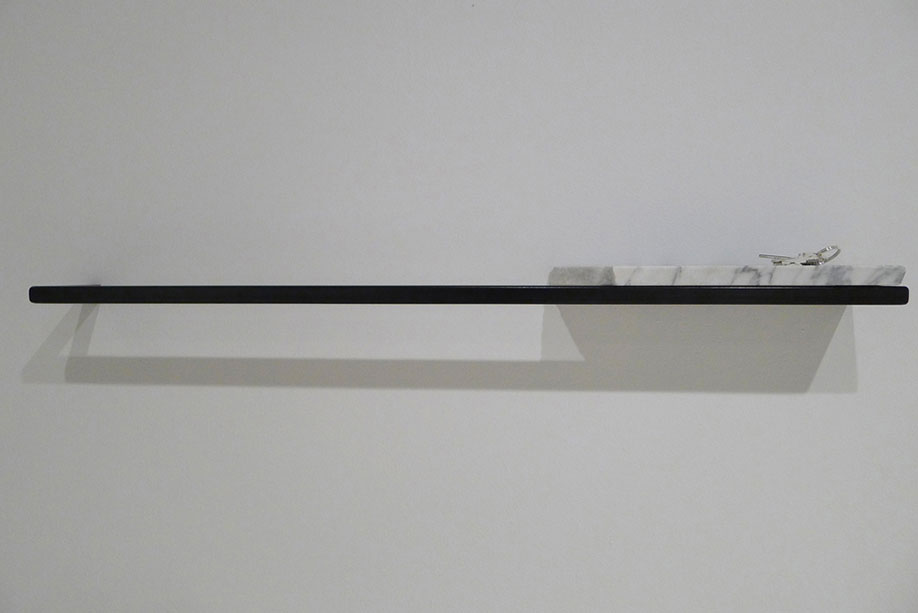 <b>Title: </b>Untitled (Shelf and Keys)<br /><b>Year: </b>2012<br /><b>Medium: </b>Square metal tubing, white marble, and keys cast in silver<br /><b>Size: </b>91 x 10 x 7 cm