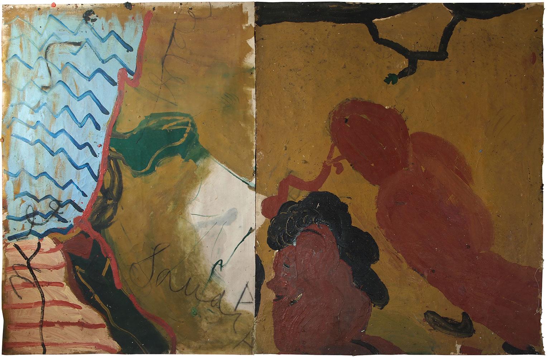 <b>Title:</b>Bird and Worm (Suez War)<br /><b>Year:</b>1990-2014<br /><b>Medium:</b>Oil on canvas<br /><b>Size:</b>183 x 289 cm