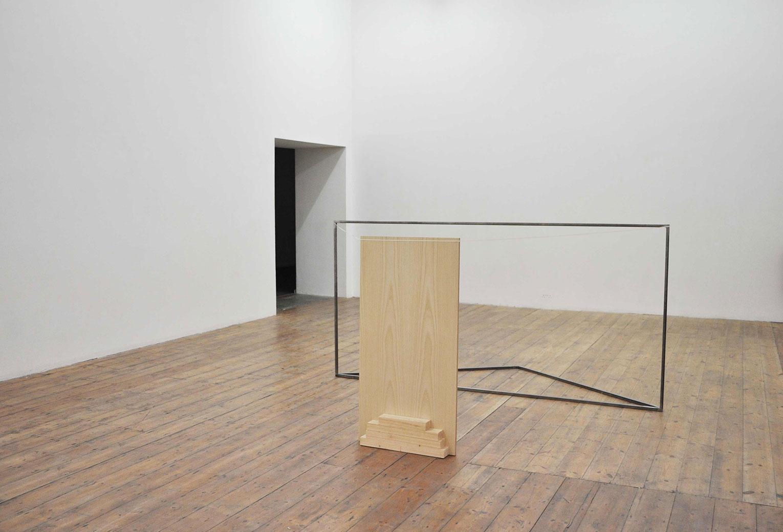 <b>Title:</b>Cancelling Machine<br /><b>Year:</b>2012<br /><b>Medium:</b>Metal, wood, parcel string, and laminated ply wood<br /><b>Size:</b>240 x 120 x 150 cm