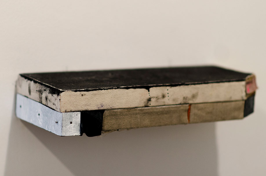 <b>Title: </b>Untitled (Shelf Series)<br /><b>Year: </b>2015<br /><b>Medium: </b>Oil, gloss, linen, canvas, wood, concrete, paper, nails, and staples<br /><b>Size: </b>Dimensions variable, Photo courtesy of Geukens & De Vil, Belgium