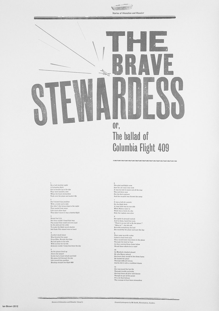 <b>Title: </b>Stories of Alienation and Disaster<br /><b>Year: </b>2011-12<br /><b>Medium: </b>Letterpress prints on sugar paper and Zerkall 145gsm soft white (53 x 76 cm), DVD, Phonograph machine, music recorded to wax cylinder<br /><b>Size: </b>Dimensions variable