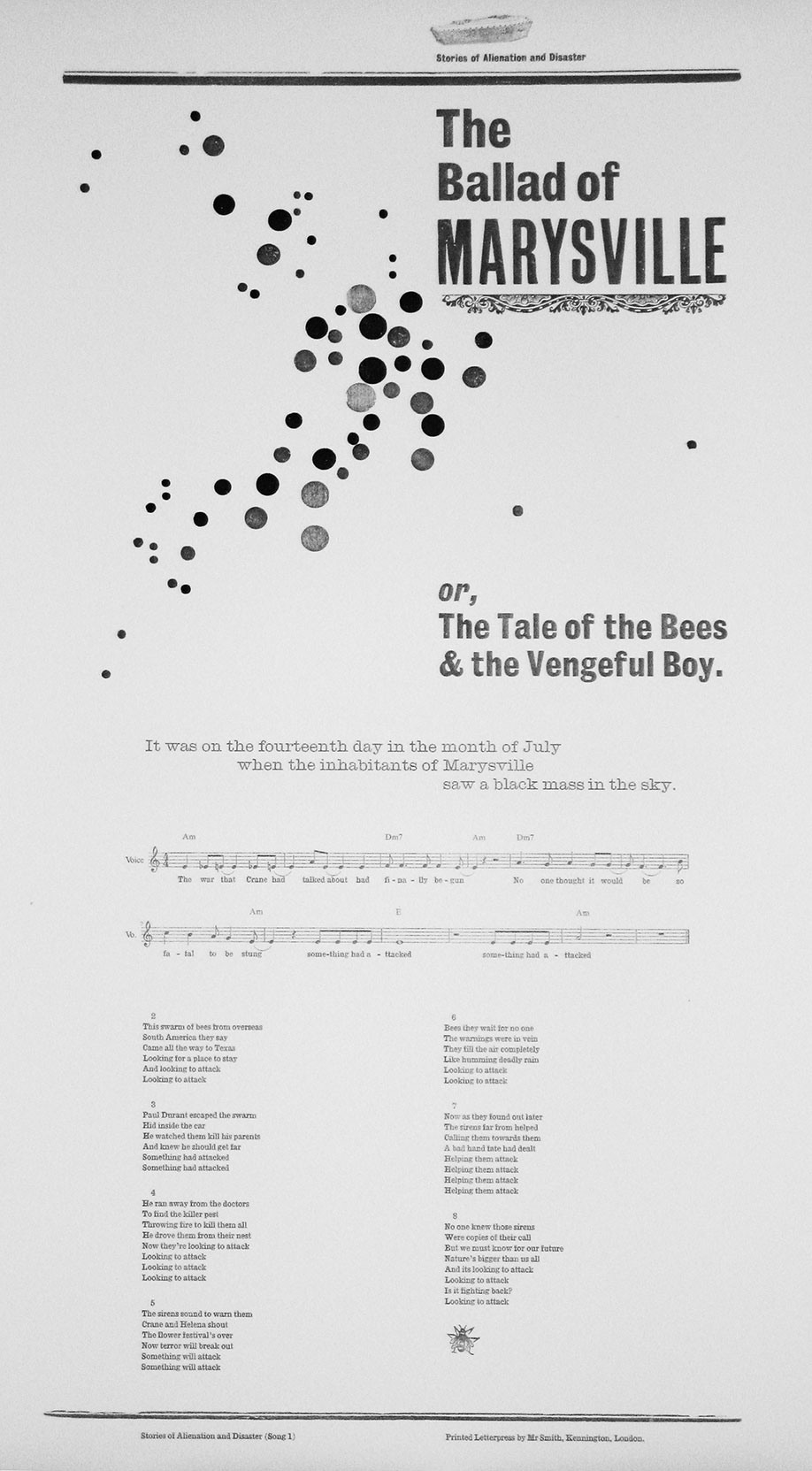 <b>Title:</b>Stories of Alienation and Disaster<br /><b>Year:</b>2011-12<br /><b>Medium:</b>Letterpress prints on sugar paper and Zerkall 145gsm soft white (53 x 76 cm), DVD, Phonograph machine, music recorded to wax cylinder<br /><b>Size:</b>Dimensions variable