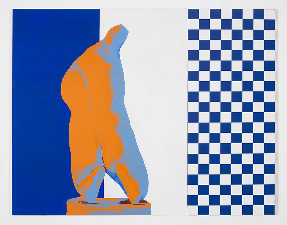<b>Title:</b>Drag<br /><b>Year:</b>2012<br /><b>Medium:</b>Oil on anodised aluminium and digital print on canvas<br /><b>Size:</b>150 x 192 cm