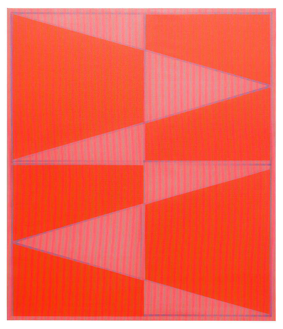 <b>Title: </b>Flame<br /><b>Year: </b>2013<br /><b>Medium: </b>PVC mesh on oil on polythene<br /><b>Size: </b>140 x 120 cm