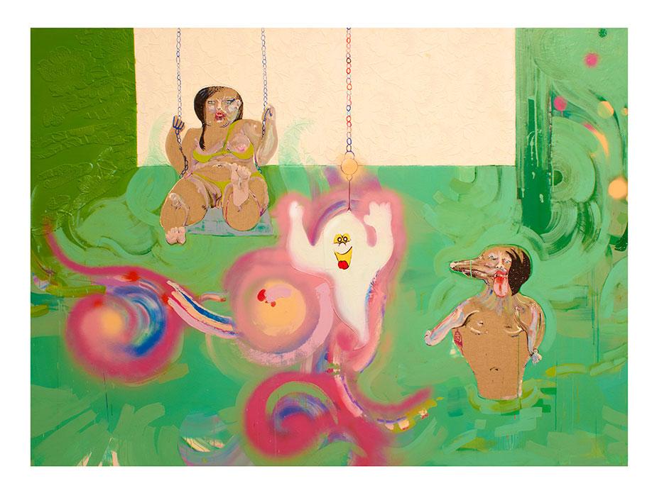 <b>Title:</b>Acid House Swirly-Whirly<br /><b>Year:</b>2013<br /><b>Medium:</b>Acrylic, oil, spray paint, wallpaper, synthetic hair, plastic, collage on canvas<br /><b>Size:</b>170 x 230 cm