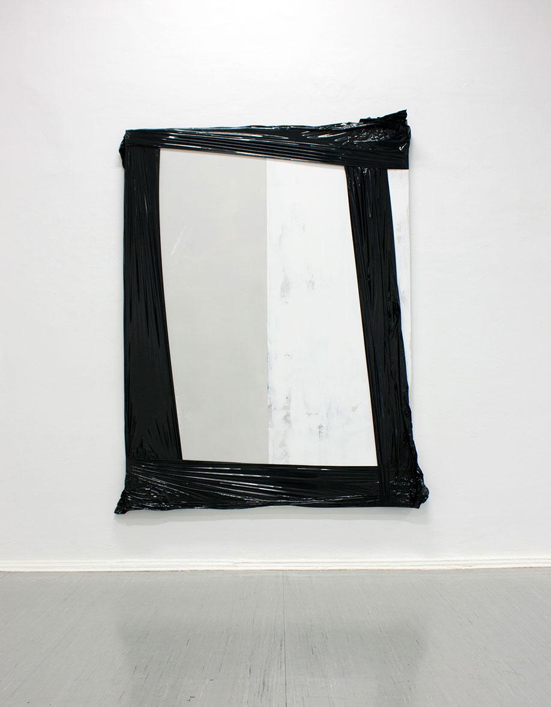 <b>Title:</b>140802<br /><b>Year:</b>2014<br /><b>Medium:</b>Acrylic, lacquer, spray paint, fluorescent marker, and PE film on canvas<br /><b>Size:</b>240 x 175 cm, Photo: Elmar Vestner