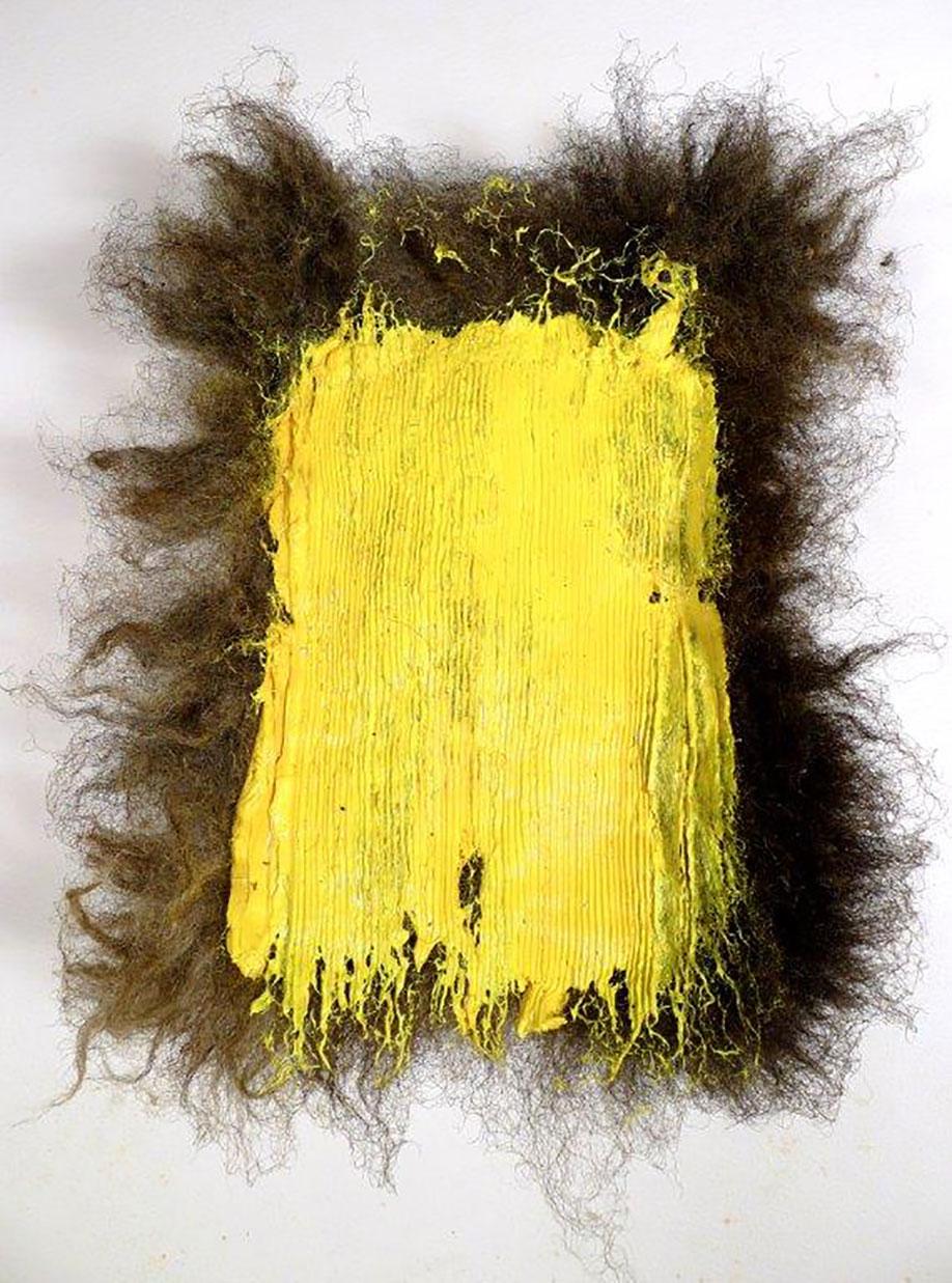 <b>Title:</b>Blaencamlais<br /><b>Year:</b>2014<br /><b>Medium:</b>Oil paint on Balwen fleece<br /><b>Size:</b>21 x 16 x 11 cm