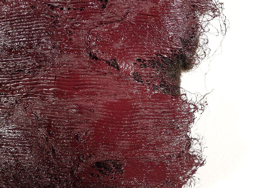 <b>Title:</b>Callwen, detail<br /><b>Year:</b>2014<br /><b>Medium:</b>Oil paint on Balwen fleece<br /><b>Size:</b>20 x 20 x 5 cm