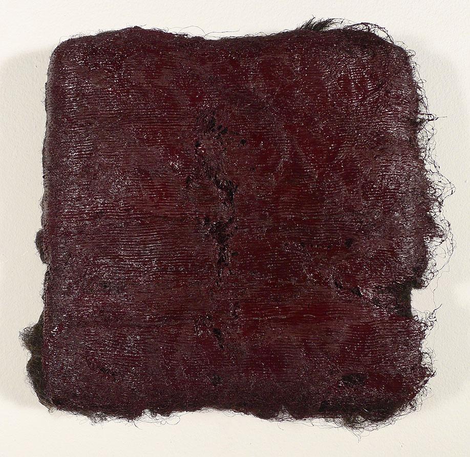 <b>Title:</b>Callwen<br /><b>Year:</b>2014<br /><b>Medium:</b>Oil paint on Balwen fleece<br /><b>Size:</b>20 x 20 x 5 cm