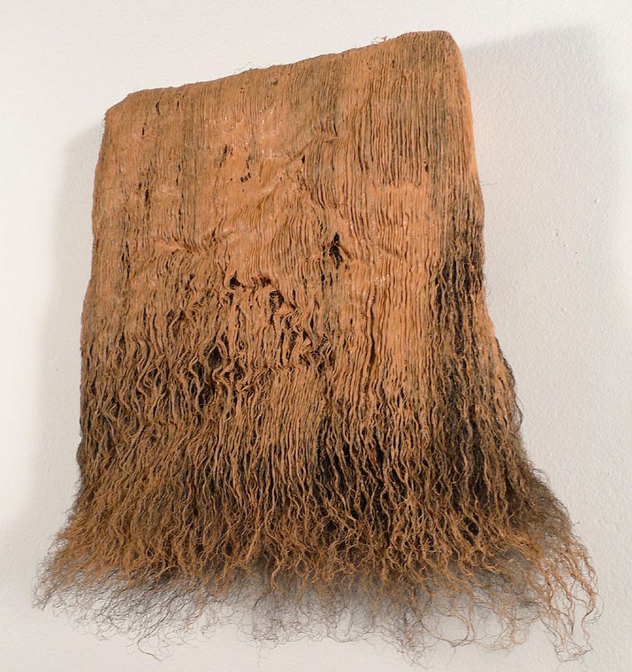 <b>Title:</b>Tonfildre<br /><b>Year:</b>2013<br /><b>Medium:</b>Oil paint and hair lacquer on Balwen fleece<br /><b>Size:</b>25 x 21 x 9 cm