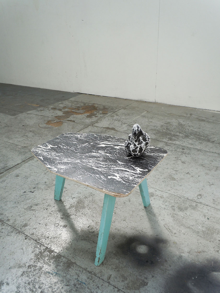 <b>Title: </b>This On That<br /><b>Year: </b>2011<br /><b>Medium: </b>Rock, plywood, melamine, pine, chalkboard paint and chalk<br /><b>Size: </b>Dimensions variable