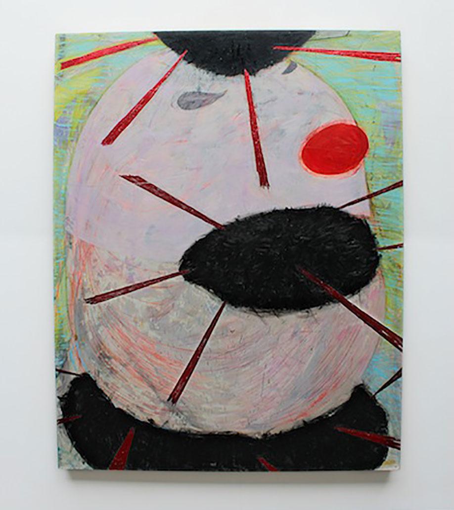 <b>Title:</b>A Friend of Bishop Ramsey<br /><b>Year:</b>2013<br /><b>Medium:</b>Oil and collage on panel<br /><b>Size:</b>155 x 122 cm