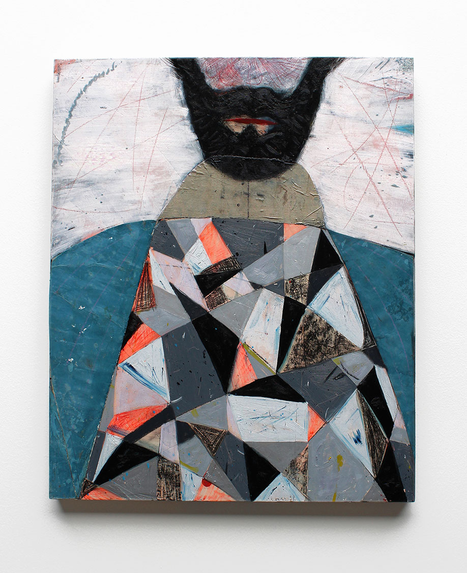 <b>Title:</b>You Stare Just Above My Head<br /><b>Year:</b>2013<br /><b>Medium:</b>Oil and collage on panel<br /><b>Size:</b>65 x 50 cm