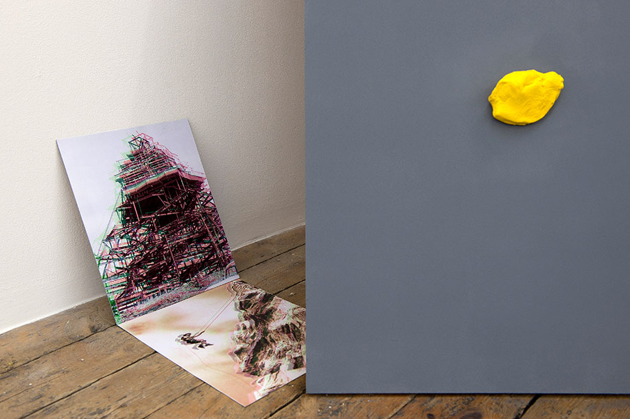 <b>Title:</b>Proposal for sculpture to lean against The Matterhorn or 'There is precious little in civilisation to appeal to a Yeti' Edmund Hillary<br /><b>Year:</b>2011<br /><b>Medium:</b>Plasticine and board<br /><b>Size:</b>Dimensions variable