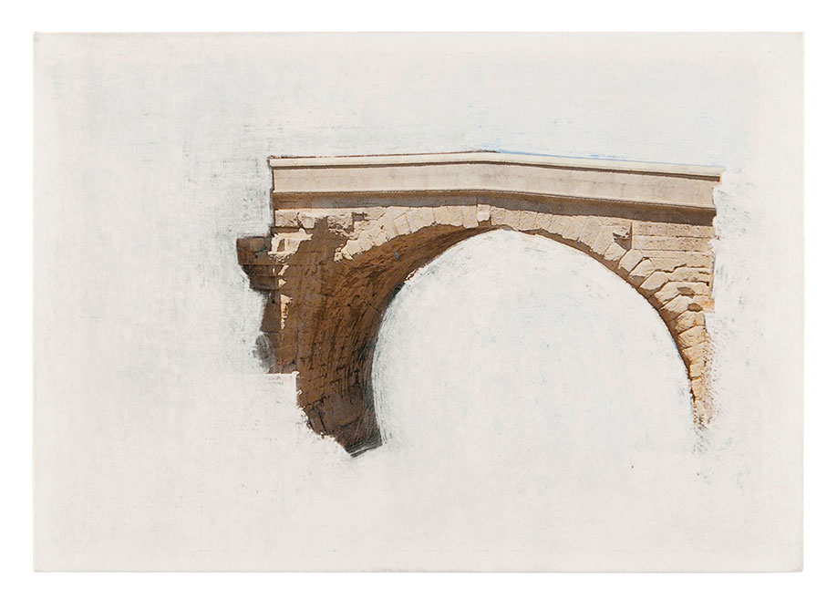 <b>Title: </b>Bridges, series<br /><b>Year: </b>2009 - ongoing<br /><b>Medium: </b>Sanded postcard<br /><b>Size: </b>9 x 15 cm