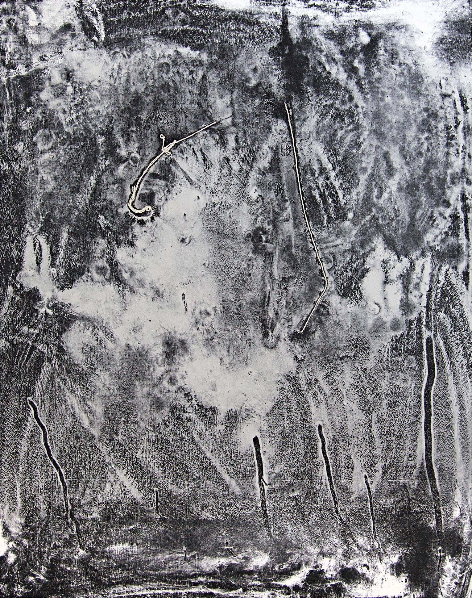 <b>Title:</b>Fools Excellent Behoved<br /><b>Year:</b>2014<br /><b>Medium:</b>Chalk and string on painted board<br /><b>Size:</b>61 x 47.5 x 1.8 cm