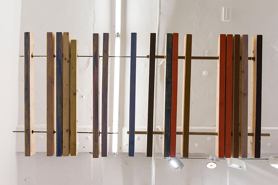 <b>Title:</b>Hung Wood<br /><b>Year:</b>2015<br /><b>Medium:</b>Wood, metal, and paint<br /><b>Size:</b>Dimensions variable