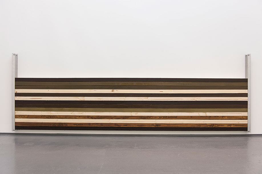 <b>Title: </b>Wall Wood<br /><b>Year: </b>2015<br /><b>Medium: </b>Wood, metal, and paint<br /><b>Size: </b>100 x 303 x 8 cm