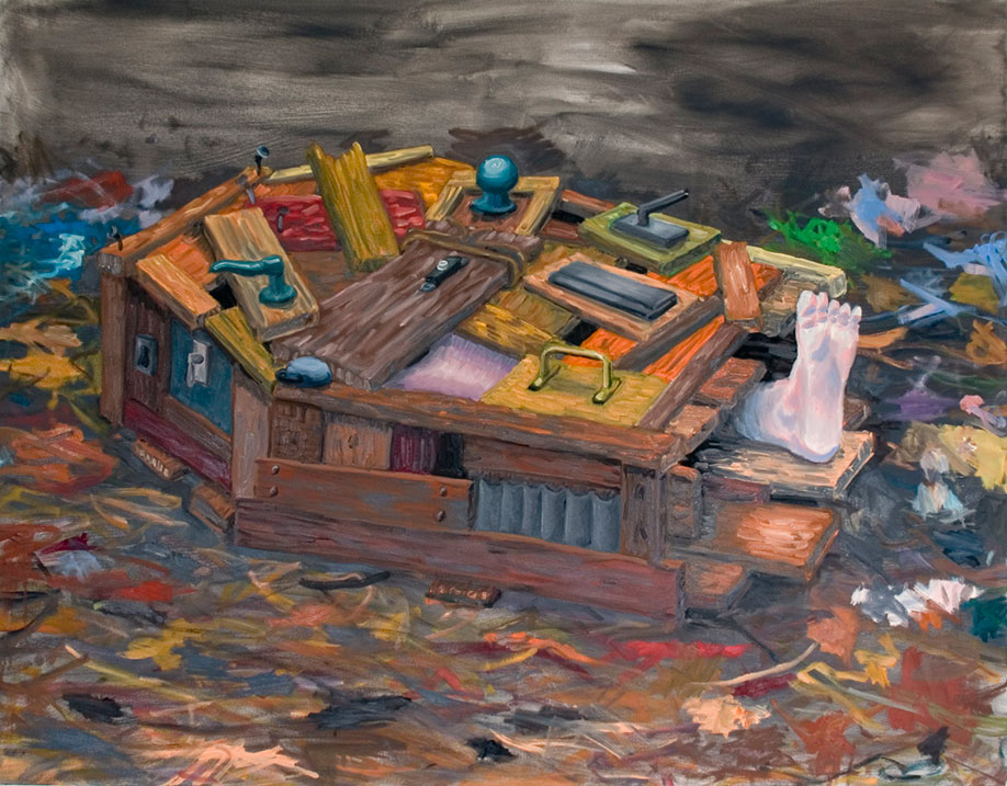 <b>Title: </b>Makeshift Coffin<br /><b>Year: </b>2008<br /><b>Medium: </b>Oil on canvas<br /><b>Size: </b>125 x 160 cm