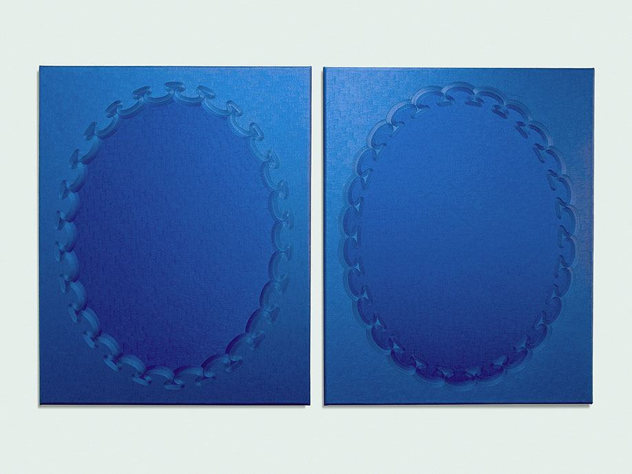 <b>Title: </b>Blue Bleu (diptych) <br /><b>Year: </b>2013<br /><b>Medium: </b>Oil on canvas <br /><b>Size: </b>102 x 164 cm