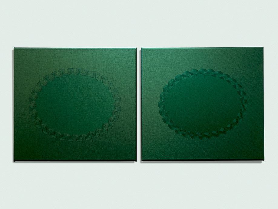 <b>Title: </b>Vers Vert (diptych)<br /><b>Year: </b>2013<br /><b>Medium: </b>Oil on canvas<br /><b>Size: </b>61 x 132 cm