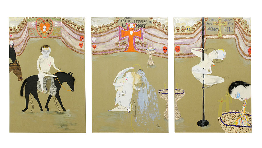 <b>Title:</b>Boys and girls<br /><b>Year:</b>2008<br /><b>Medium:</b>Mixed media on canvas<br /><b>Size:</b>254 x 120 cm