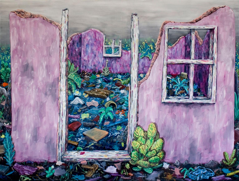 <b>Title:</b>Pink Ruin<br /><b>Year:</b>2010<br /><b>Medium:</b>Oil on canvas<br /><b>Size:</b>160 x 210 cm
