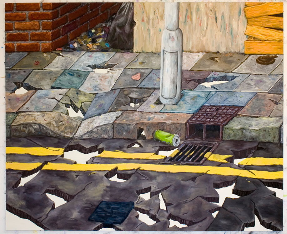 <b>Title: </b>Street With Holes<br /><b>Year: </b>2010<br /><b>Medium: </b>Oil on canvas<br /><b>Size: </b>185 x 225 cm