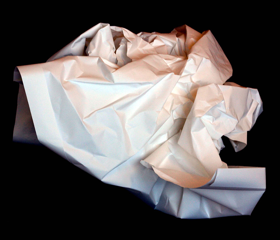 <b>Title: </b>a priori (from 'a priori - a continuous series of sculpture realised through existential performances')<br /><b>Year: </b>2014<br /><b>Medium: </b>One large sheet of paper<br /><b>Size: </b>Dimensions variable