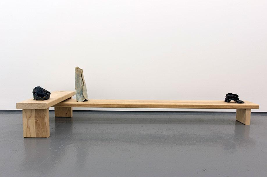 <b>Title:</b>Leg Retainer<br /><b>Year:</b>2015<br /><b>Medium:</b>Ceramic, ash, and timber<br /><b>Size:</b>52 x 212 x 73.5 cm