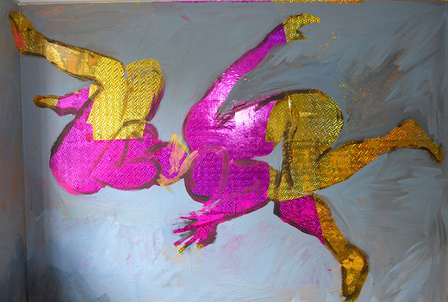 <b>Title:</b>Hall of the Swell<br /><b>Year:</b>2015<br /><b>Medium:</b>Wall painting installation: Holographic gift wrap paper and acrylic paint<br />