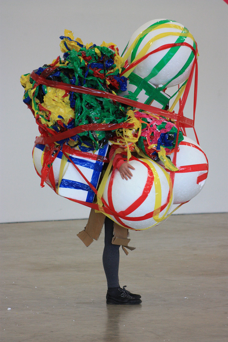 <b>Title:</b>MAKE<br /><b>Year:</b>2012<br /><b>Medium:</b>Performance and sculpture. Materials: Polystyrene, coloured packing tape, and cardboard. Photo: Gian Paolo Cottino<br />
