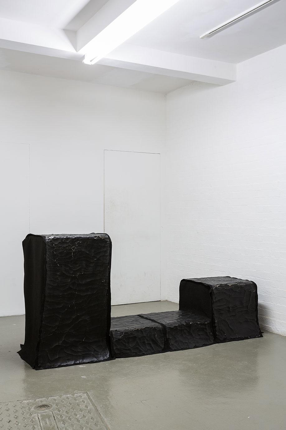 <b>Title:</b>Encrusted Carpet, by Ana Genovés<br /><b>Year:</b>2013<br /><b>Medium:</b>Wood, carpet, clay, paint<br /><b>Size:</b>240 x 98 x 55 cm