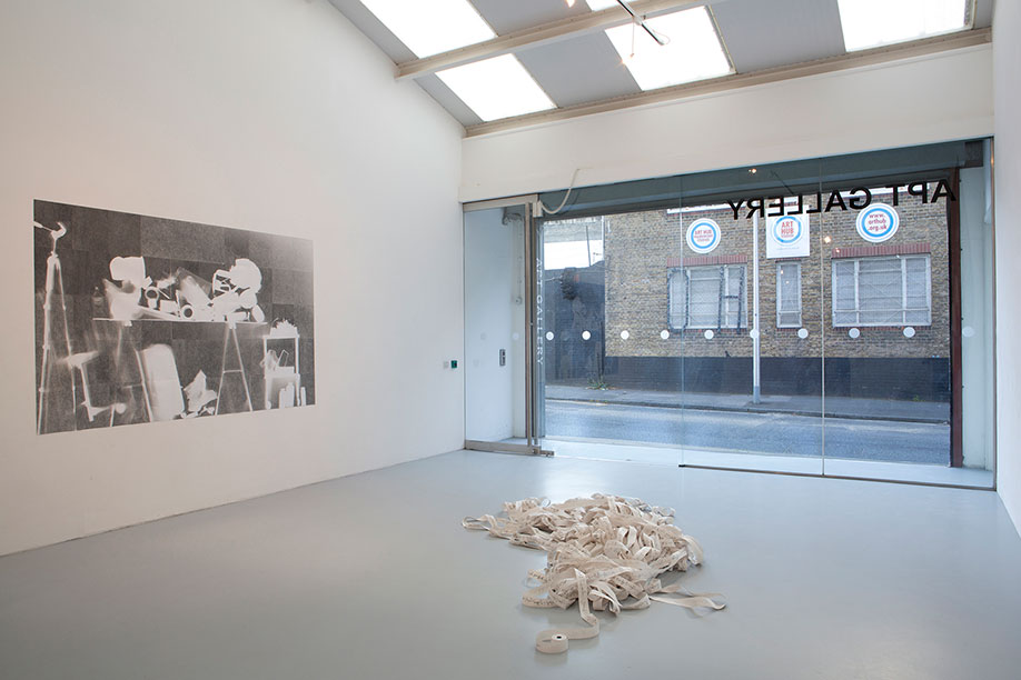 <b>Title: </b>Exposed (All my possessions), Installation view at A.P.T Gallery, London<br /><b>Year: </b>2013<br /><b>Medium: </b>Etching on gelatin silver print (50 panels)<br /><b>Size: </b>239 x 152 cm