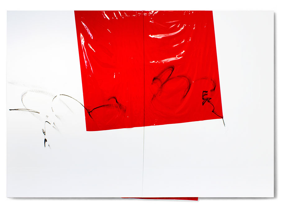 <b>Title:</b>150501<br /><b>Year:</b>2015<br /><b>Medium:</b>Acrylic, lacquer, spray paint, and PE film on canvas<br /><b>Size:</b>185 x 260 cm