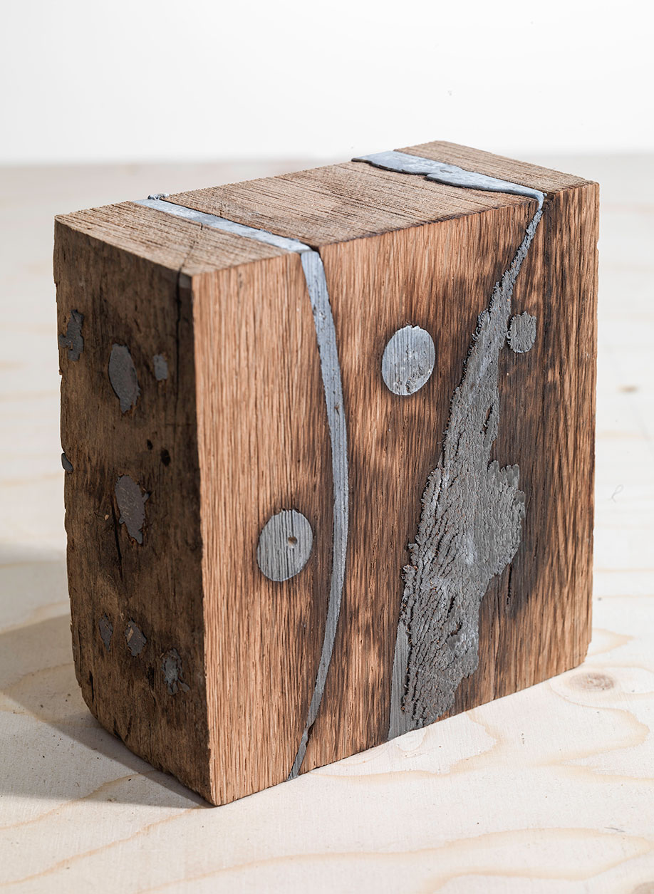 <b>Title: </b>Table of Doubt – Object 1<br /><b>Year: </b>2015<br /><b>Medium: </b>Wood and lead<br /><b>Size: </b>13 x 6 x 13 cm