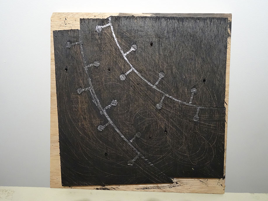 <b>Title: </b>Untitled<br /><b>Year: </b>2015<br /><b>Medium: </b>Wood and lead<br /><b>Size: </b>32 x 32 cm