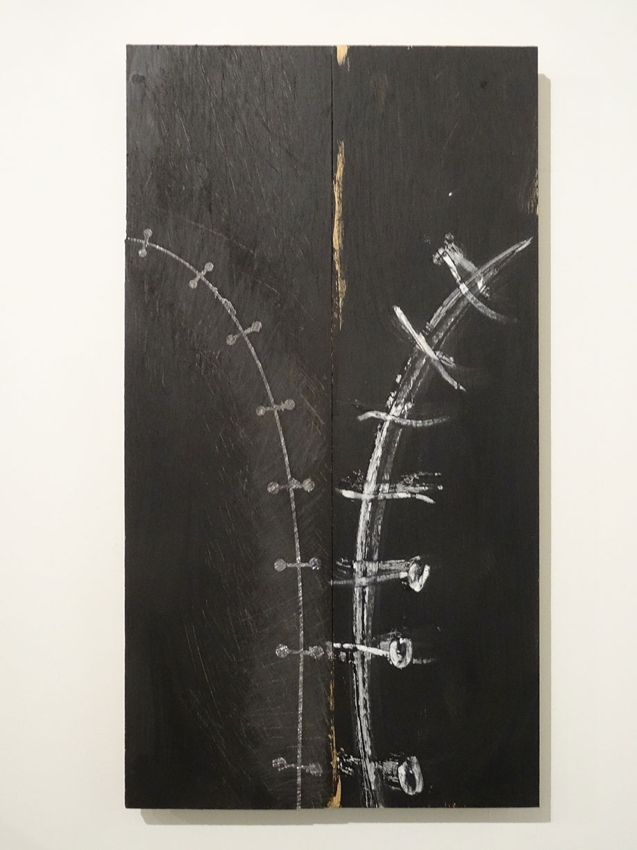 <b>Title: </b>Untitled<br /><b>Year: </b>2015<br /><b>Medium: </b>Wood, lead and oil stick<br /><b>Size: </b>41 x 75 cm